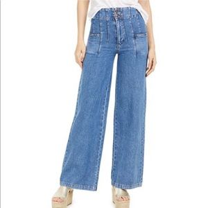 Free People Midnight City Wide Leg Jeans high rise